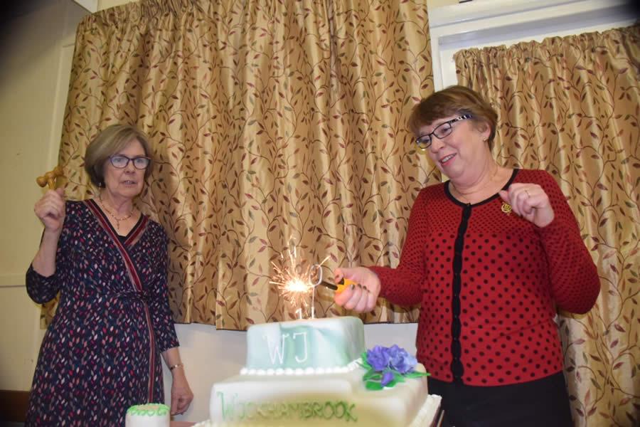 W.I. 90th Anniversary lighting cake
