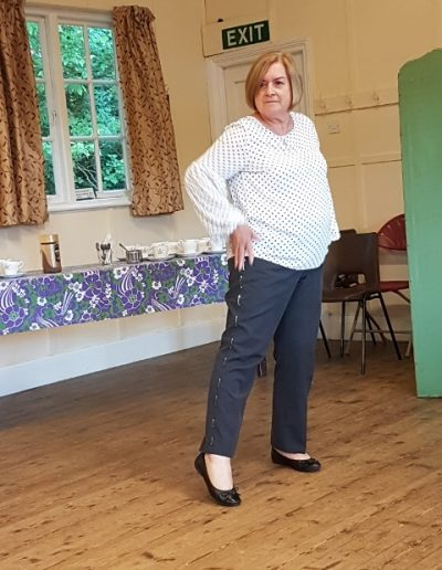 Wanda's pinstriped trousers!